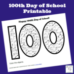 100th Day of School Printable for Kids to Color and Count On
