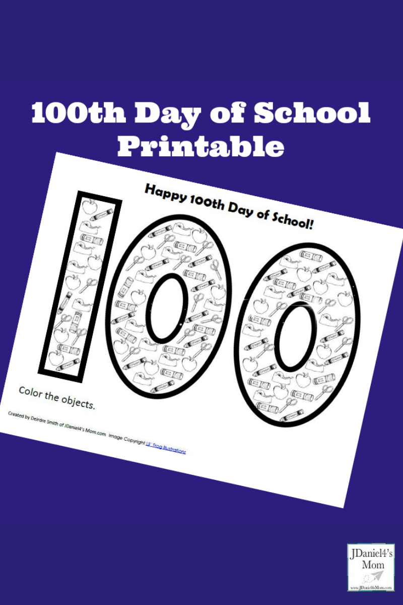 100th Day of School Printable for Kids to Count and Color Objects