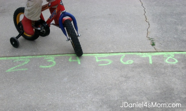 Drawing a Bike Over a Chalk Number Line
