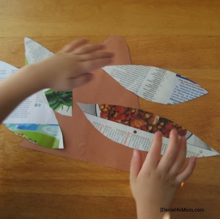 Turkey Craft and a Thanksgiving Book - Feathers