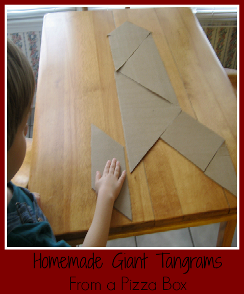 Homemade Giant Tangrams from a Pizza Box