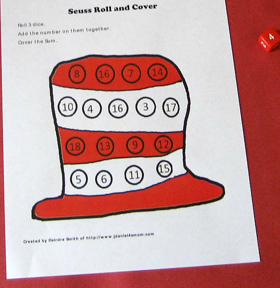 Cat in the Hat Math Activity Mats