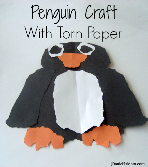 Crafts For Kids- Penguin Craft with Torn Paper