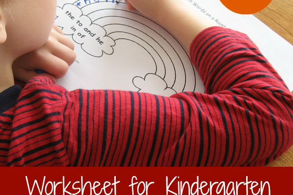 Worksheet for Kindergarten-Writing Words on a Rainbow
