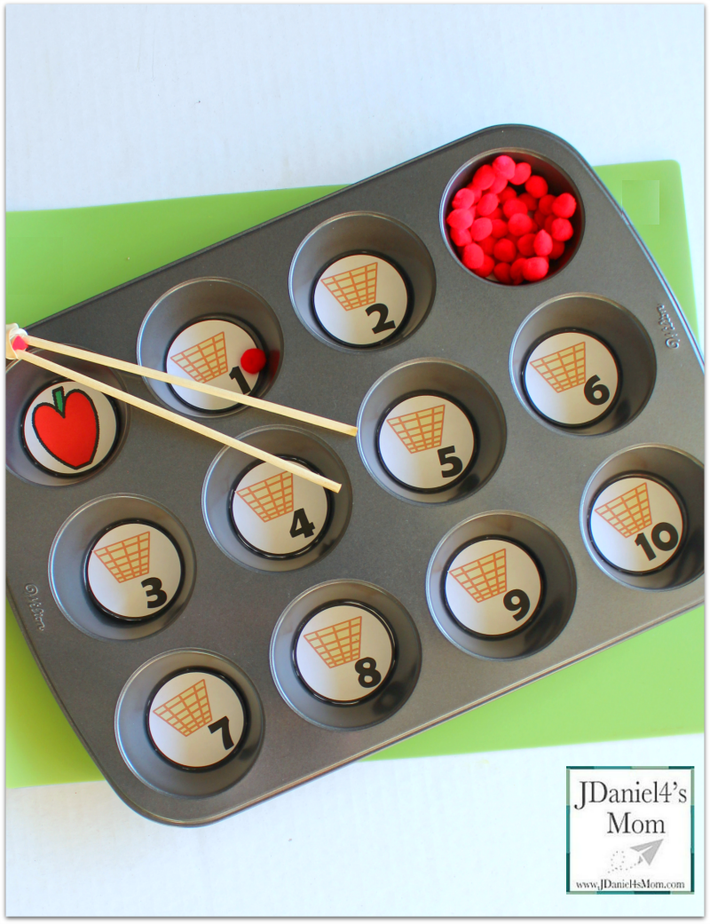 Free Counting Worksheets - Apple Basket Muffin Tin Numbers