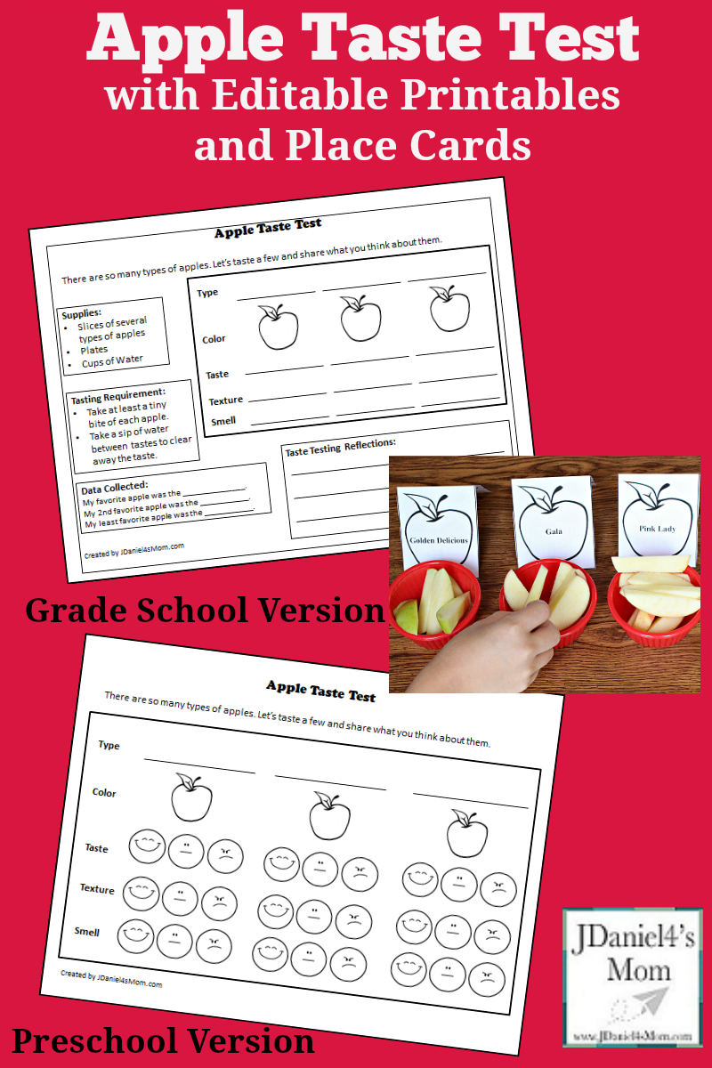 AApple Taste Test with Printables and Editable Place Cards - This set includes editable preschool and grade school versions of the recording sheet. There are also editable place cards that you can use in the STEM science activity to label the varieties of apples.
