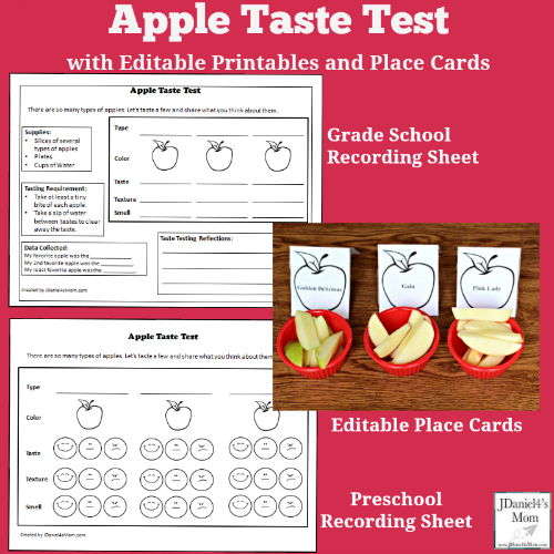 Apple Taste Test with Printables and Editable Place Cards