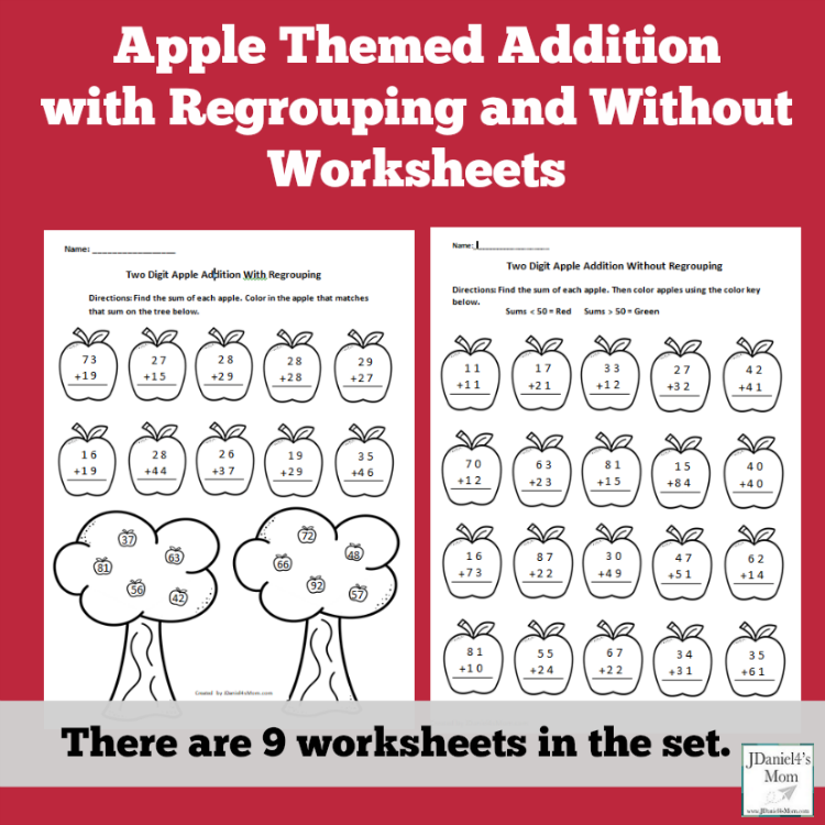 Apple Themed Addition with Regrouping and Without Worksheets
