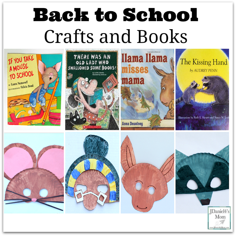 Back to School Crafts and Books - This is a collection of paper plate mask crafts based on Back to School themed books.