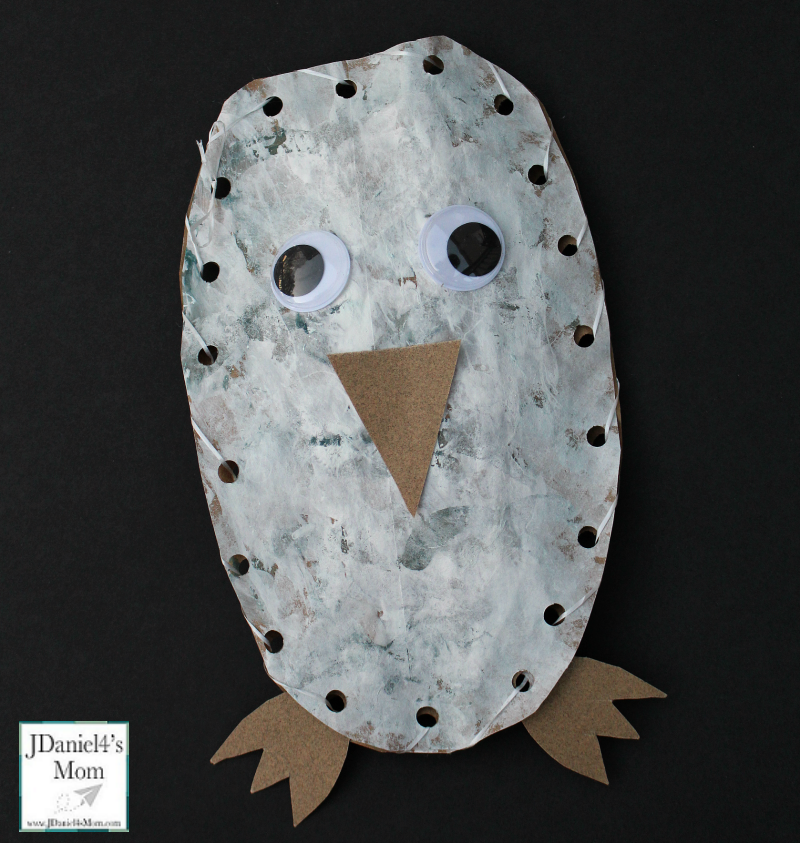 Owl Craft Based on the Book Owl Babies- This stuffed owl craft will have kids painting, cutting, hole punching and sewing. What fun!