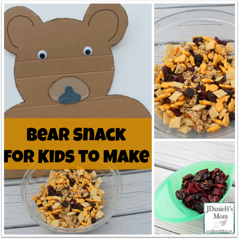 Bear Snack for Kids to Make- The ingredients for this fun snack are based on items from favorite bear books.