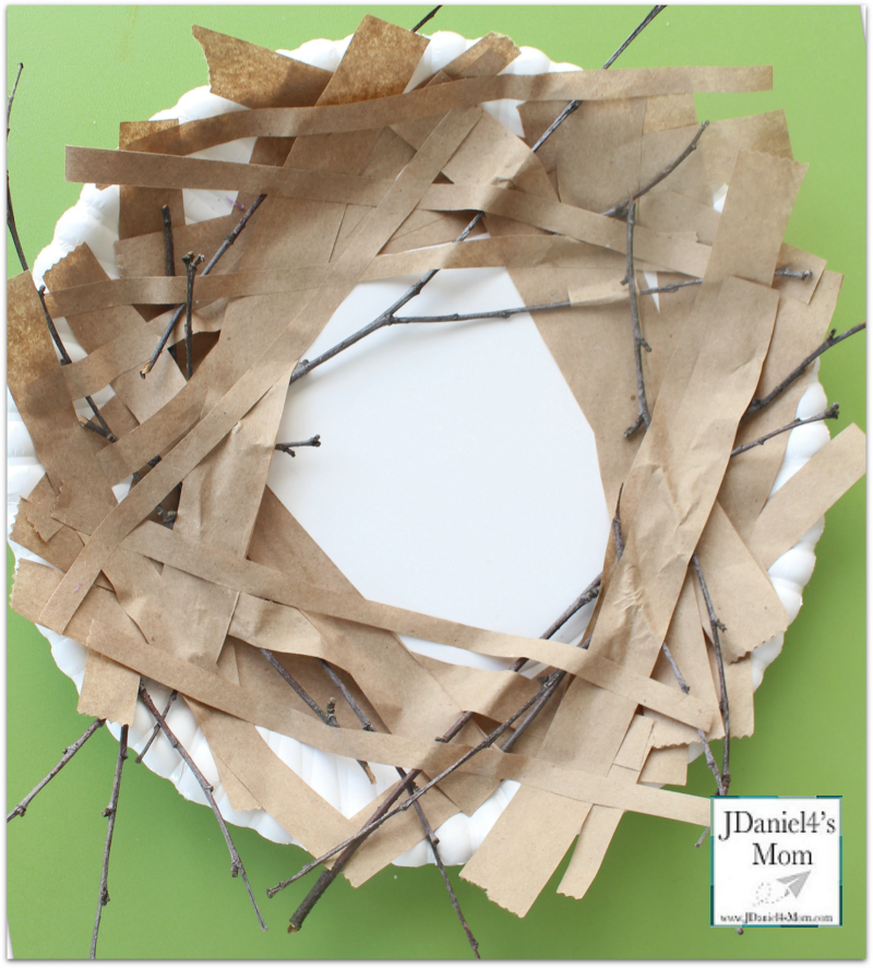 Bird Nest Craft Paper Plate Nest- Adding Sticks and Strips