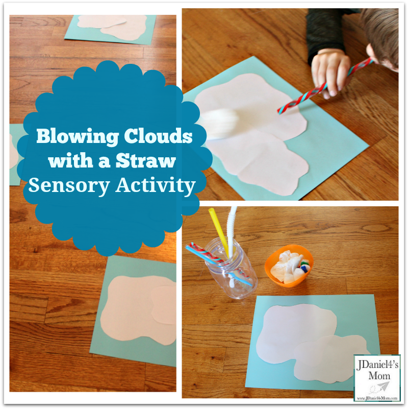 -Blowing Clouds with a Straw Sensory Activity : Children will explore how much air to use to blow cloud like objects from one cloud to another.