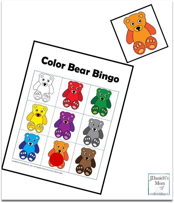 Color Games for Kids with a Bear Theme - Bingo Card