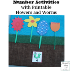 Number Activities with Printable Flowers and Worms- This set is a wonderful way to work on number recognition and counting. Kids will have fun planting flowers to match the number on each worm.