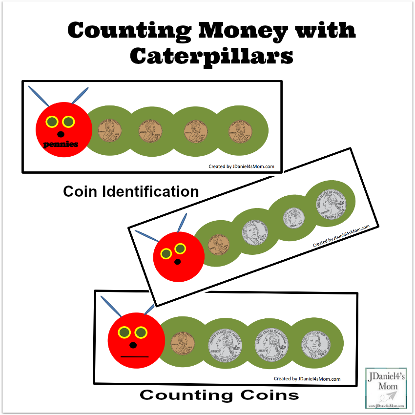 This counting money with caterpillars set would be wonderful to explore after reading the book The Very Hungry Caterpillar.