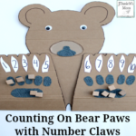 Counting On Bear Paws with Number Claws- This math learning space can be used for counting blessings, explore the number of things to be grateful for, or just doing math facts.
