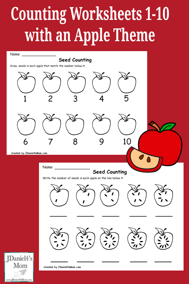 Counting Worksheets 1-10 with an Apple Theme : This set invites children at home and students at school to work on counting, number recognition, and one to one correspondence.