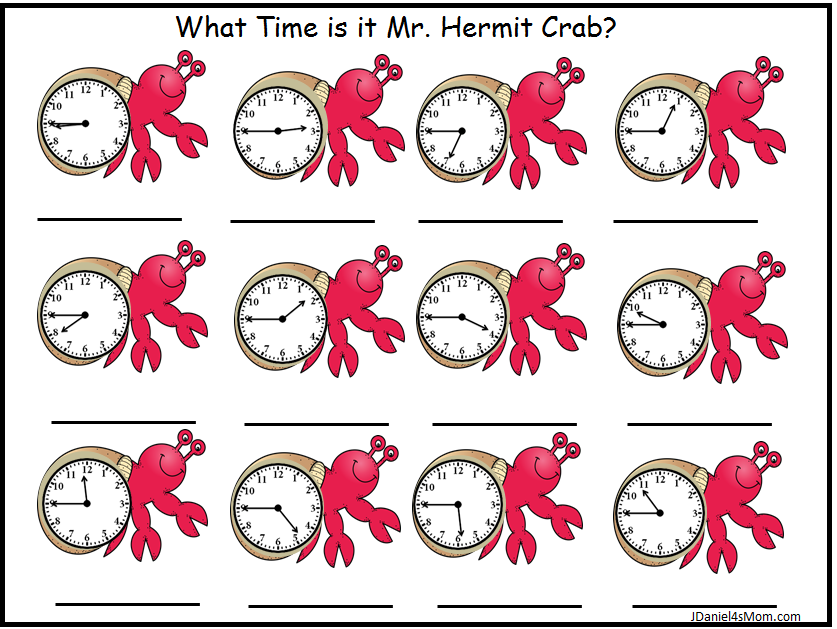 What Time is it Mr. Hermit Crab? Telling Time Worksheets - Crab clocks on the quarter til