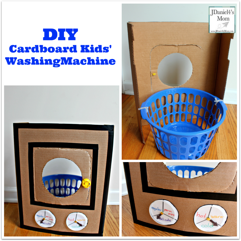 DIY Cardboard Kids' Washing Machine - This portable pretend play area is super easy to create.