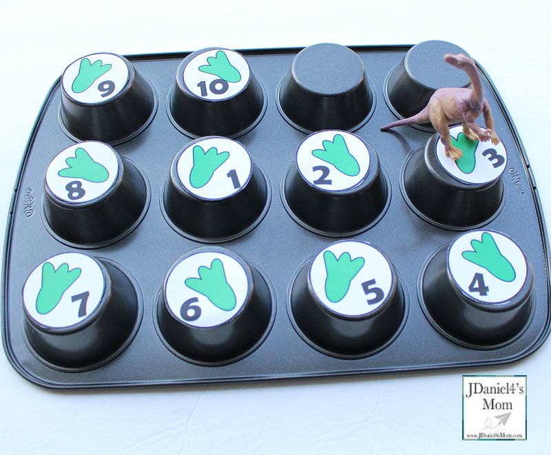 Dinosaur Activities for Kids That Explore Numbers - This printable set of numbers can be used in or on top of a muffin tin.