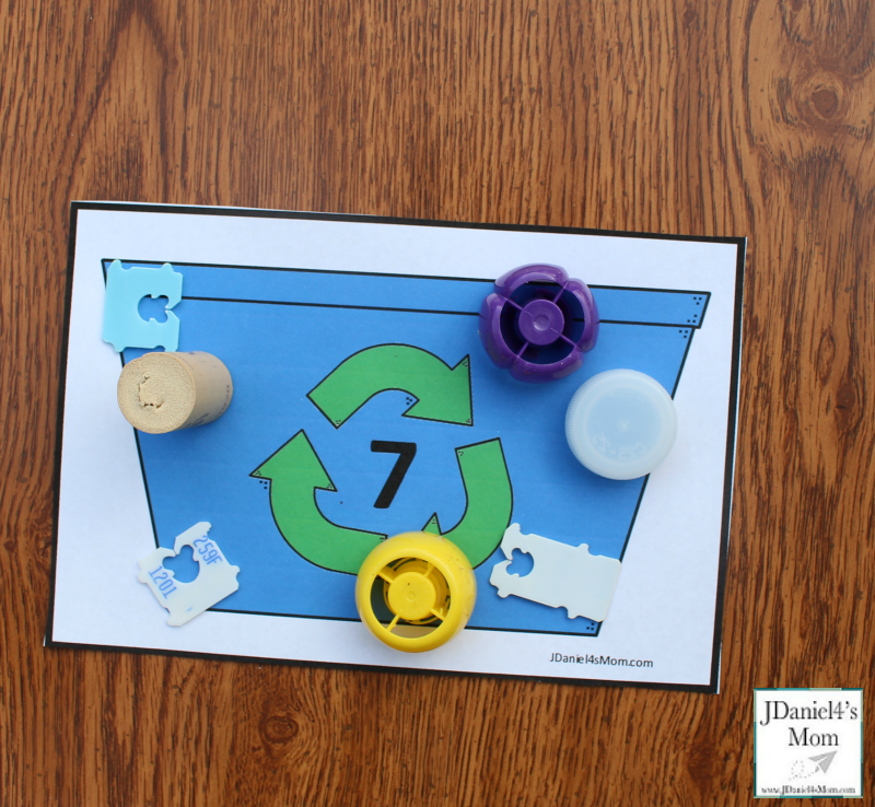 Earth Day Math Activities - Recycling Bin Counting with Printables - Exploring Seven