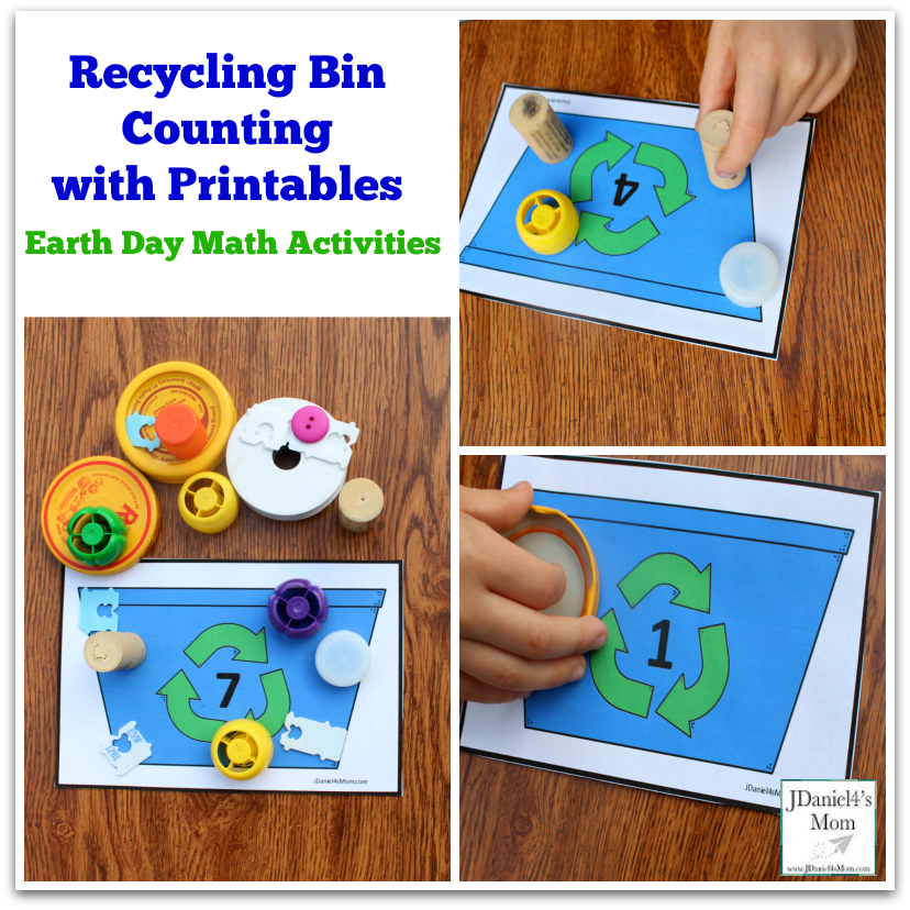 Earth Day Math Activities - Recycling Bin Counting with Printables