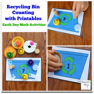 Earth Day Math Activities – Recycling Bin Counting with Printables