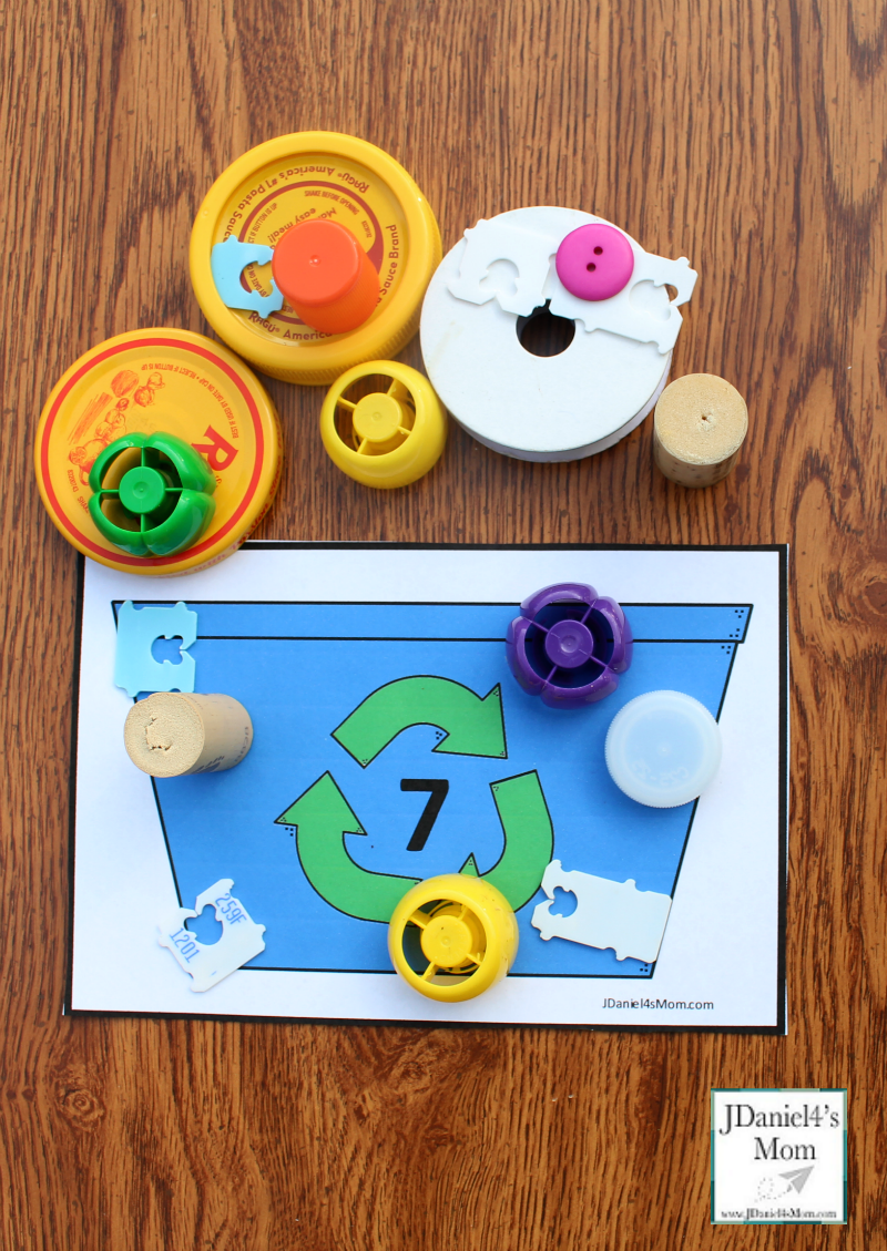 Earth Day Math Activities - Recycling Bin Counting with Printables- Seven Mat and Counting Supplies