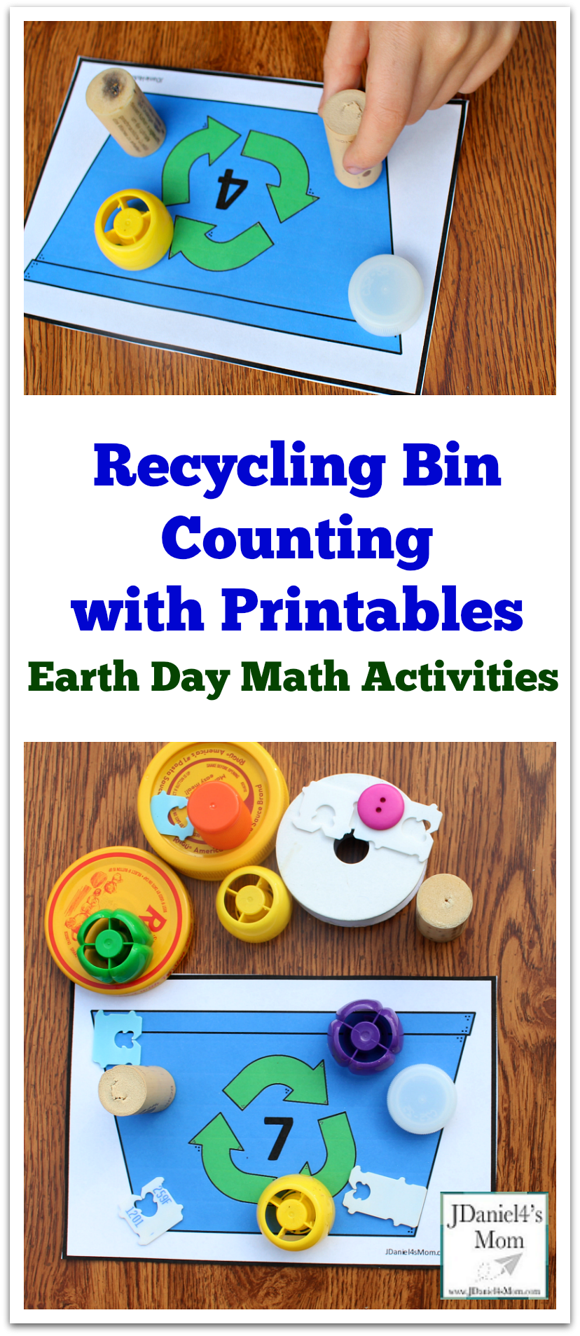 Earth Day Math Activities -Recycling Bin Counting with Printables : Kids will love exploring numbers with small counters.