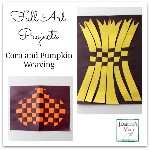 Fall Art Projects- Corn and Pumpkin Weaving