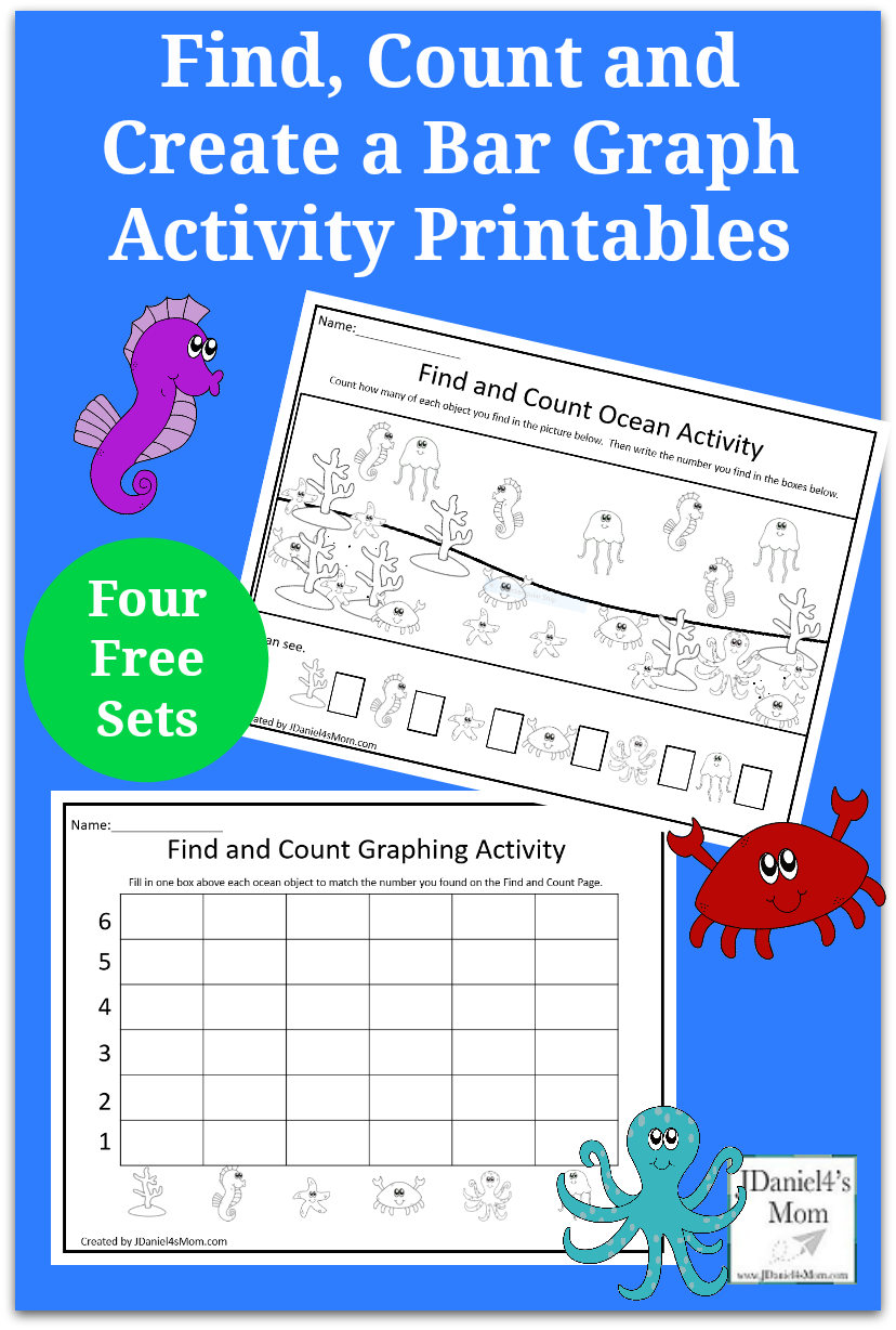 Find, Count and Create a Bar Graph Activity Printables - Your children at home or students at school can work on counting and graphing with this set of four counting and four graphing sheets.