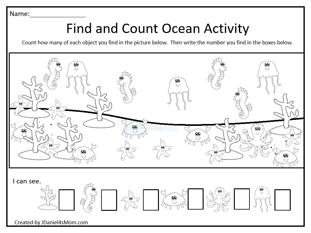 Find and Count Ocean Themed Printable