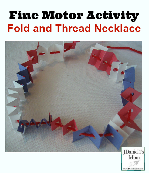Fine Motor Activity Fold and Thread Necklace