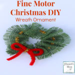 Fine Motor Christmas DIY Wreath Ornament- Kids can easily thread a pipecleaner through burlap to create this Christmas Ornament.