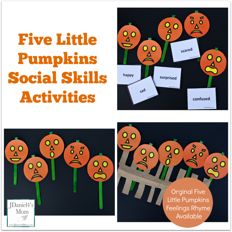 Five Little Pumpkins Social Skills Activities- A set of pumpkins and emotion cards are free to download. An original rhyme about five little pumpkins and feeling is shared in this post.