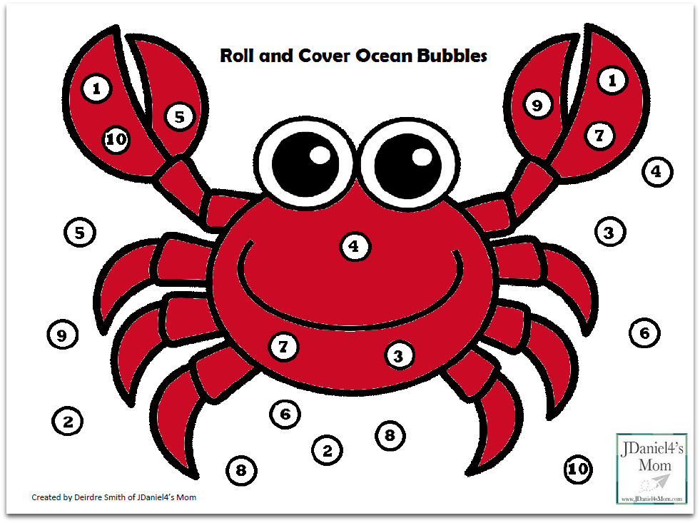 Free Math Games- Ocean Themed Roll and Cover Mats