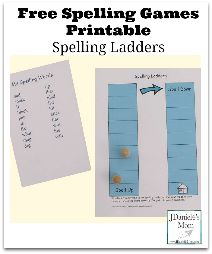 Free Spelling Games Printable- Children move up and down the spelling ladders as they work on their spelling words.