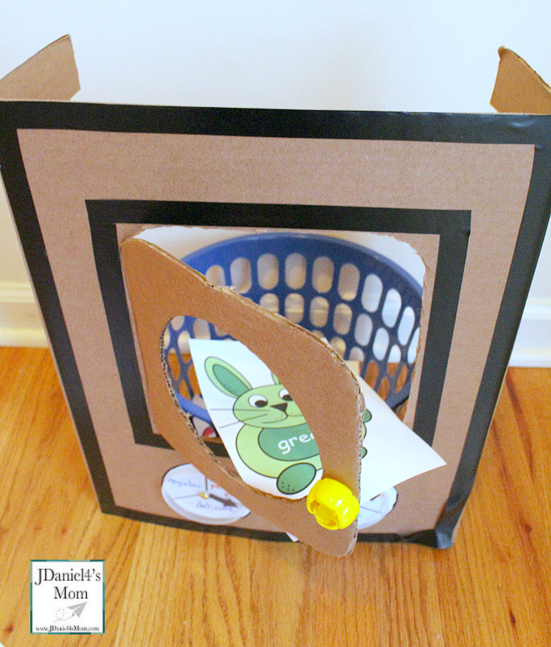 Knuffle Bunny Color Exploration Game with Printable Bunny Cards - This is a fun way to explore color words. Kids will love placing the color bunnies in the washing machine.