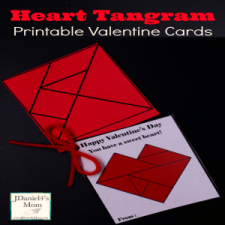Heart Tangram Printable Valentine Cards