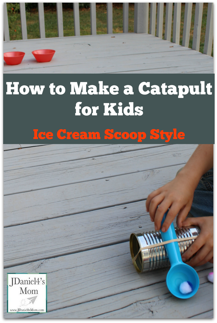 How to Make a Catapult for Kids- This is activity would be great to do after reading the book Should I Share My Ice Cream? Kids will love trying to share ice cream balls into both bowls.