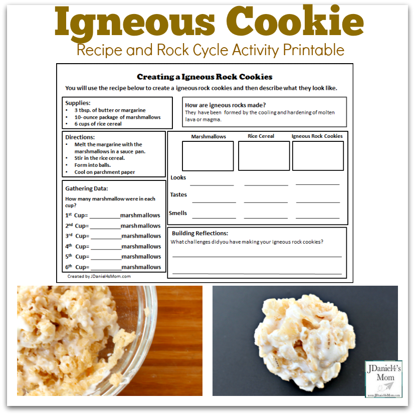 Igneous Cookie Bar Recipe and Rock Cycle Activity