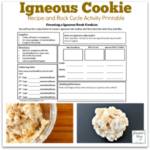Igneous Cookie Bar Recipe and Rock Cycle Activity Printable for Kids