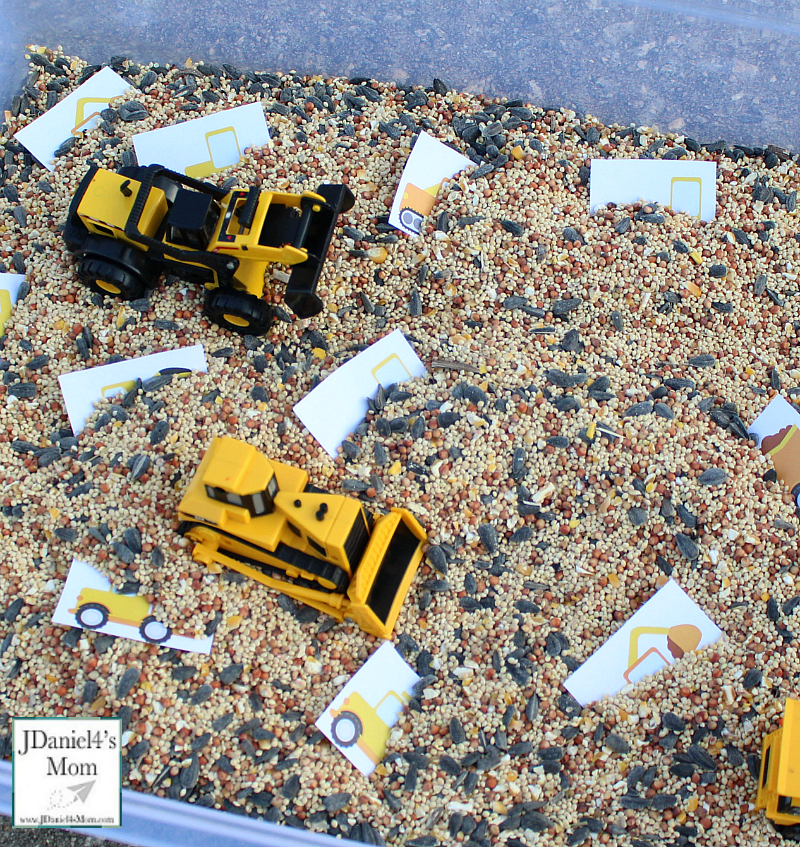 Kids Challenges- Digging Up and Sorting Construction Equipment Printables : Kids will love digging up various trucks and construction equipment.