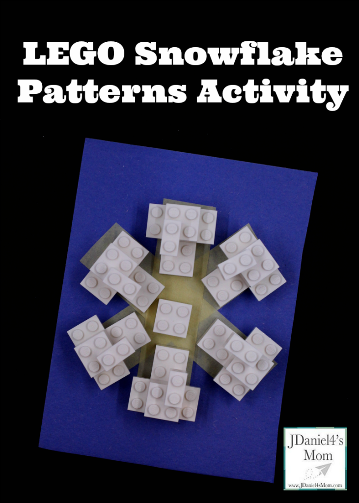 Building LEGO snowflake patterns on a simple snowflake outline gives kids the opportunity to explore symmetry.