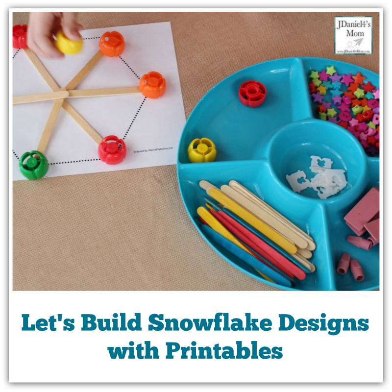 Let's Build Snowflake Designs with Printables - It is fun to build snowflakes with items you have at home.