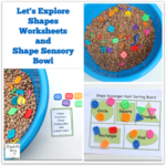 Let's Explore Shapes Worksheets and Shape Sensory Bowl Featured