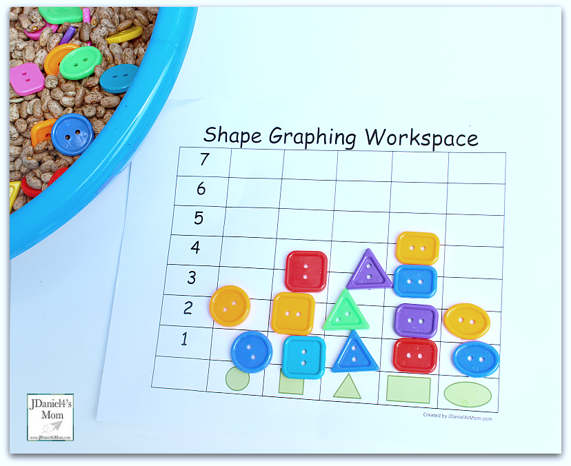 Let's Explore Shapes Worksheets and Shape Sensory Bowl with Graph