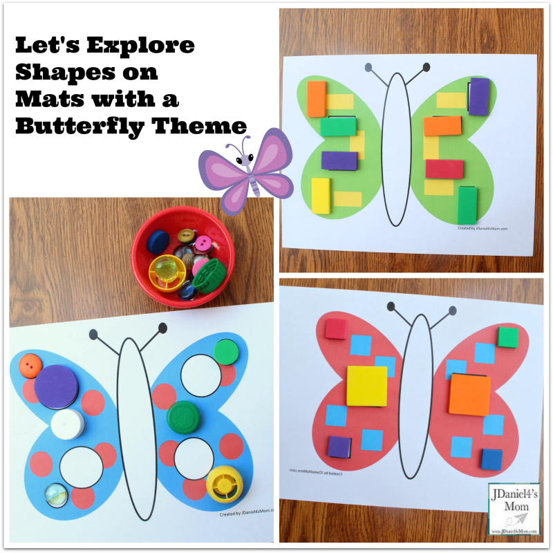 Let's Explore Shapes on Mats with a Butterfly Theme