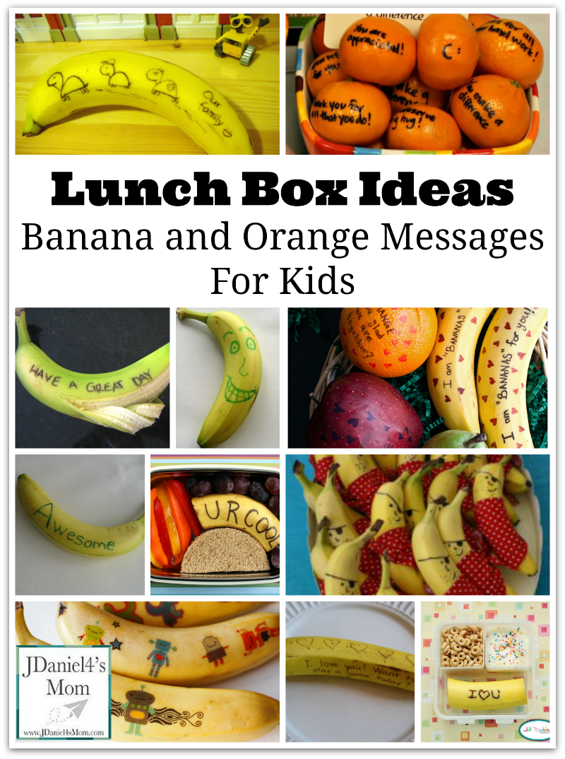 Lunch Box Ideas- Banana and Orange Messages  for Kids